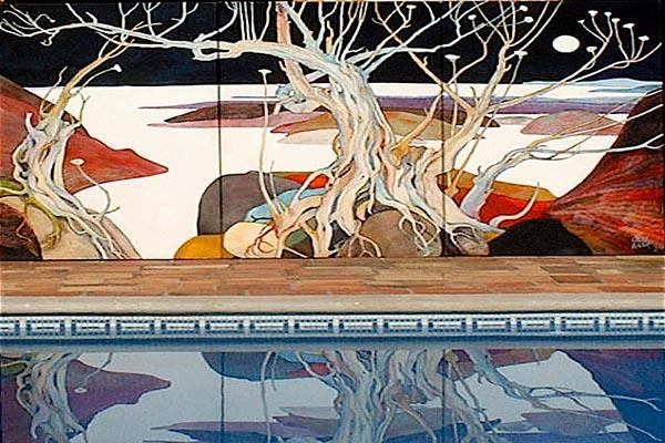 Outdoor pool mural, Los Dos B&B, Jocotepec