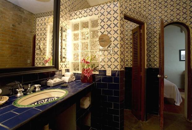 Casa Tres Vidas Vallarta Rustic talavera tile washroom