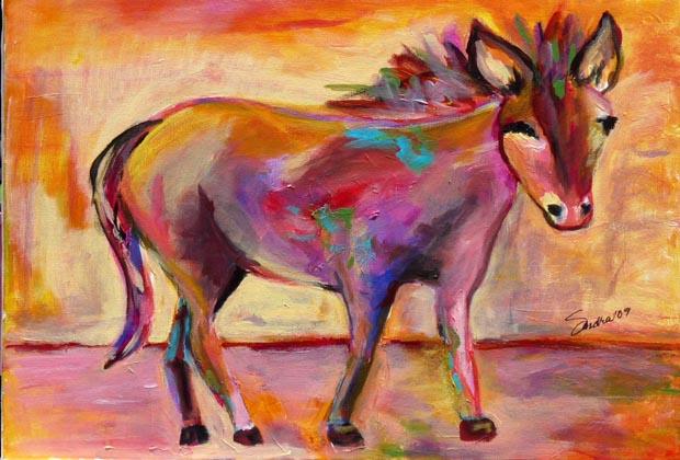 Sandrina's Restaurante Boutique Bucerias Mexico - Donkey Painting - Sandra Mark
