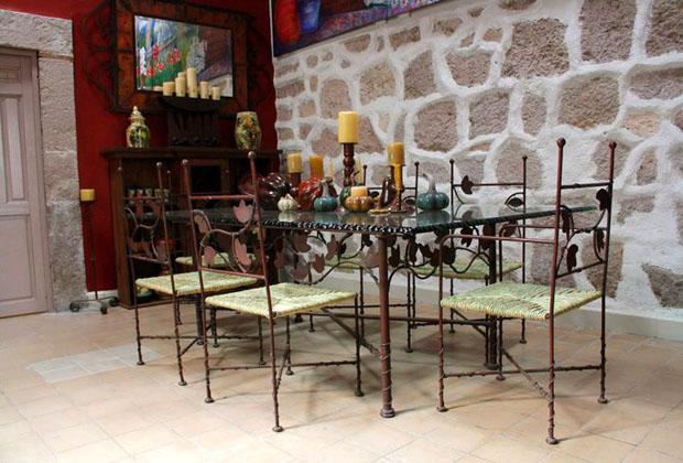 La Casona Rosa Morelia Michoacan Outdoor Patio Ornate Iron Chairs