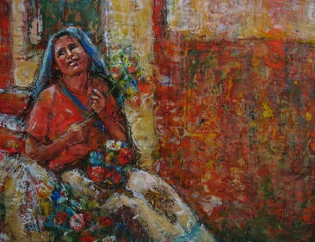 Ezshwan Winding - Flower Seller - Artist San Miguel de Allende