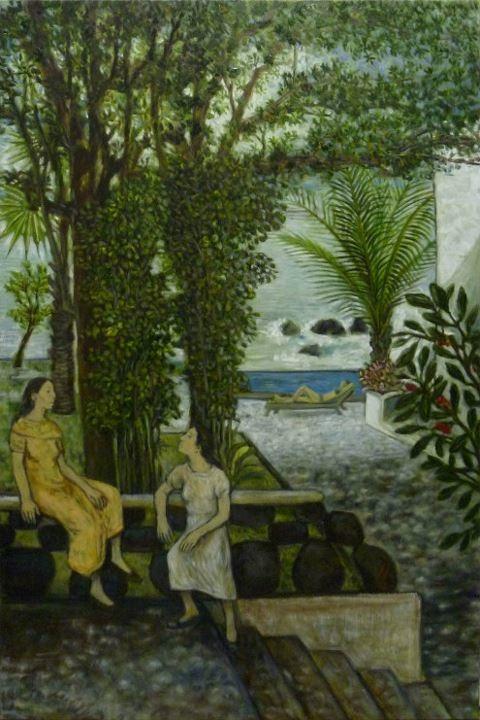 Maestro Juan Torres Calderon, Two Women Gossiping, Mexican Artist, Michoacan