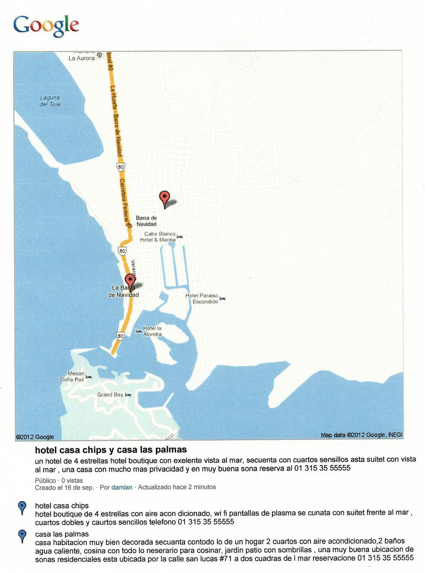 Map Casa Las Palmas Barra de Navidad